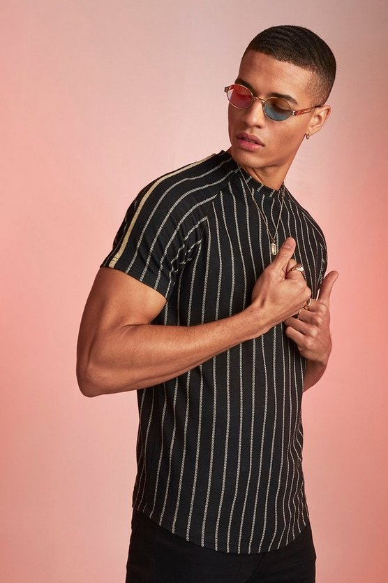 Black Muscle Fit Metallic Jacquard Stripe Tape T-Shirt
