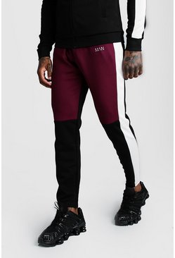 Mens Burgundy Skinny Man Colour Block Poly Jogger