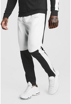 Skinny Man Colour Block Poly Jogger, White, HOMBRE