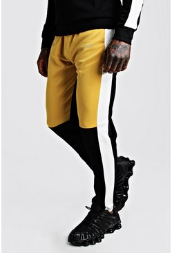Mens Mustard Skinny Man Colour Block Poly Jogger