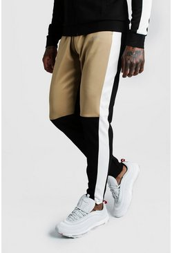 Skinny Man Colour Block Poly Jogger, Sand, HOMBRE