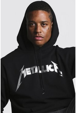Black Metallica Foil Print License Hoodie