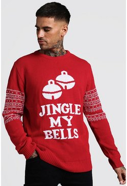 Pull de Noël à slogan Jingle My Bells, Rouge, Homme