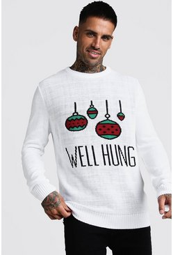 Mens White Well Hung Christmas Jumper