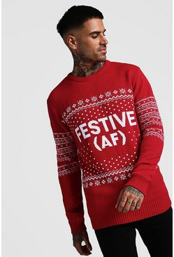Mens Red Festive AF Fairisle Christmas Jumper