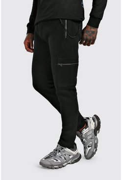 Cargo Jogger With Chain Detail, Black