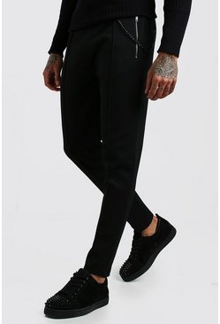 Black Scuba Pintuck Joggers With Chain Detail