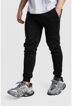 Mens Black MAN Signature Jersey Pintuck Joggers
