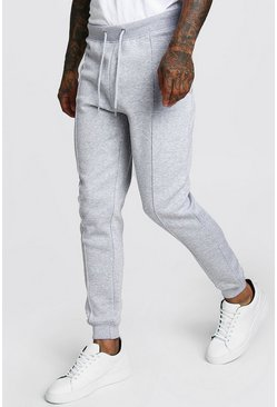 Mens Grey marl MAN Signature Jersey Pintuck Jogger