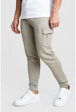 Mens Sage silver Original MAN Cargo Jogger With Zips
