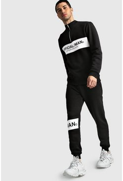 Mens Black Official MAN Half Zip Colour Block Tracksuit