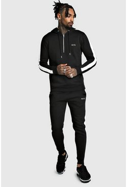 Mens Black Original MAN Half Zip Hooded Tracksuit With Panels