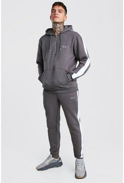 Mens Slate Original MAN Half Zip Hooded Tracksuit With Panels