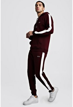 Mens Burgundy Original MAN Half Zip Hooded Tracksuit With Panels
