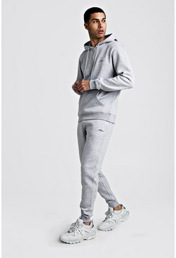 Grey marl MAN Signature Half Zip Hooded Tracksuit