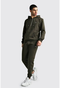 Mens Khaki MAN Signature Half Zip Hooded Tracksuit
