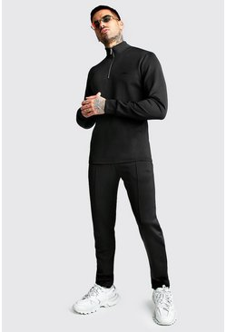 Mens Black Smart Scuba MAN Signature Half Zip Tracksuit