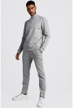 Mens Grey Smart Scuba MAN Signature Half Zip Tracksuit