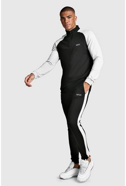 Mens Black MAN Skinny Fit Half Zip Contrast Sleeve Tracksuit