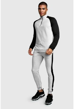 Mens Grey MAN Muscle Fit Half Zip Contrast Sleeve Tracksuit
