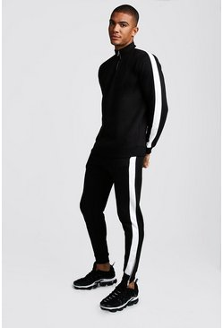 Mens Black Half Zip Skinny Fit Tracksuit With Side Panels