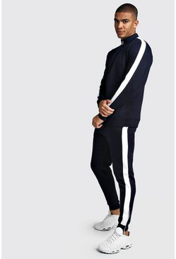 Mens Navy Half Zip Skinny Fit Tracksuit With Side Panels