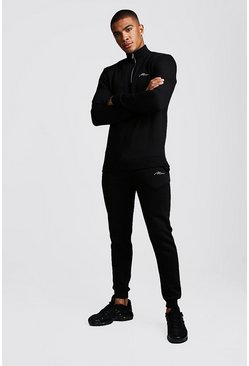 MAN Signature Half Zip Tracksuit, Black
