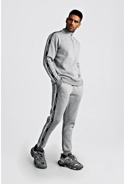 Half Zip Funnel Neck Tracksuit With MAN Tape, Grey