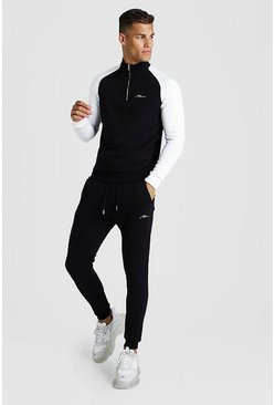 MAN Signature Half Zip Contrast Sleeves Tracksuit, Black