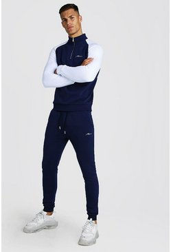 Navy MAN Signature Half Zip Contrast Sleeves Tracksuit
