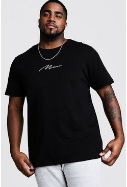 Big And Tall MAN Script T-Shirt, Black