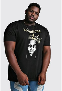 "Black Big & Tall - ""Notorious"" T-shirt med Biggie-tryck"