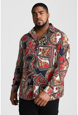 Mens Black Big And Tall Baroque Chain Print Long Sleeve Shirt