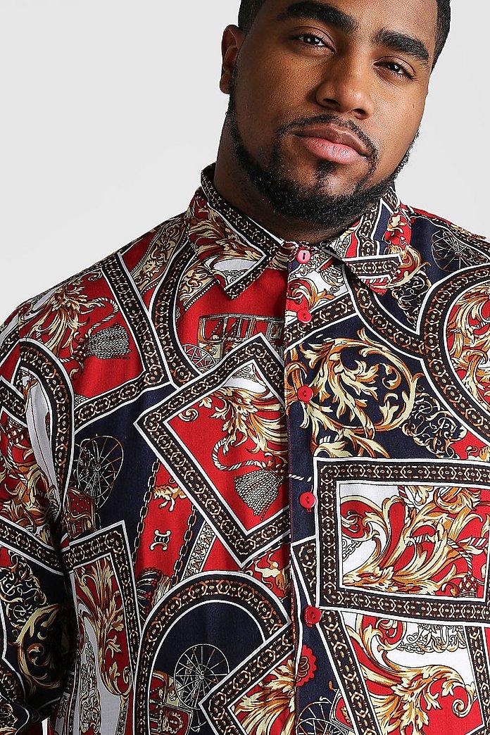 Big And Tall Baroque Chain Print Long Sleeve Shirt | boohoo