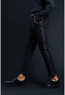 Mens Black Premium Skinny Fit Trouser With Tape & Chain Detail