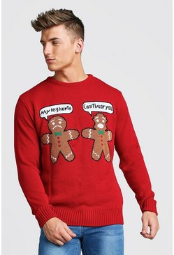 Mens Red Ginger Bread Christmas Jumper