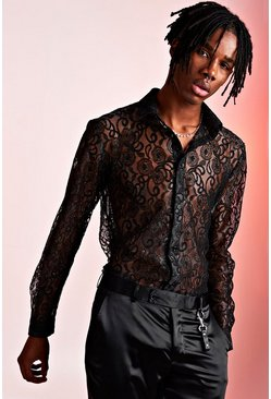 Long Sleeve Lace Shimmer Shirt, Black, HOMMES