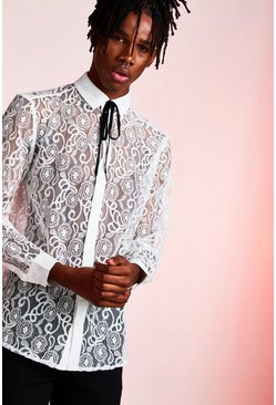 Long Sleeve Lace Shimmer Shirt, Off white, HOMMES