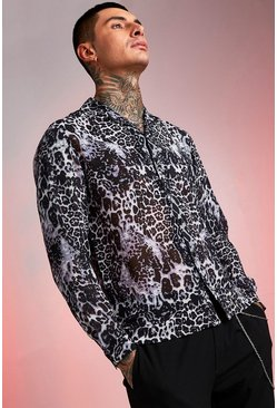 Mens Grey Sheer Leopard Print Shirt