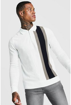 Mens Cream LS Half Zip Knitted Vertical Polo With Colour Block