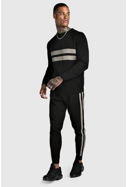Mens Black Knitted Jumper & Jogger Set With Contrast Panel