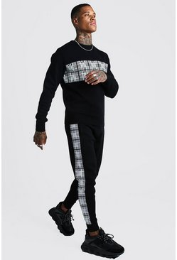 Mens Black Knitted Jumper & Jogger Set With Check Jacquard