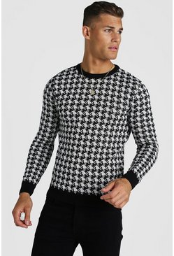Black Muscle Fit Houndstooth Knitted Jumper