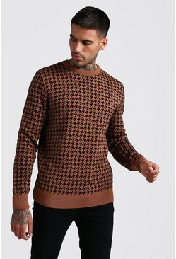 Mens Rust Houndstooth Crew Neck Knitted Jumper