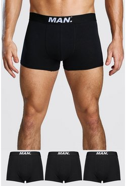 Mens Black 3 Pack MAN Dot Trunk