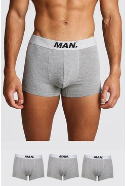Mens Grey marl 3 Pack MAN Dot Trunk