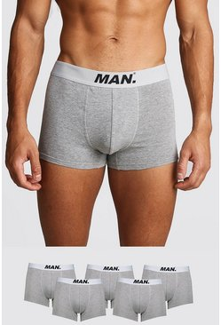 Mens Grey marl 5 Pack MAN Dot Trunk