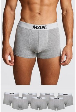 Mens Grey marl 7 Pack MAN Dot Trunk