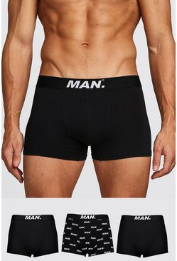 Mens Black 3 Pack MAN Dot Mixed Trunk