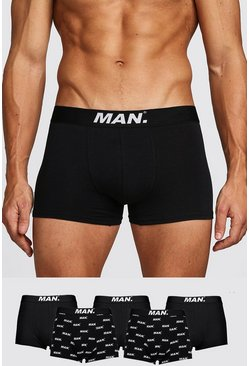 Mens Black 5 Pack MAN Dot Mixed Trunk